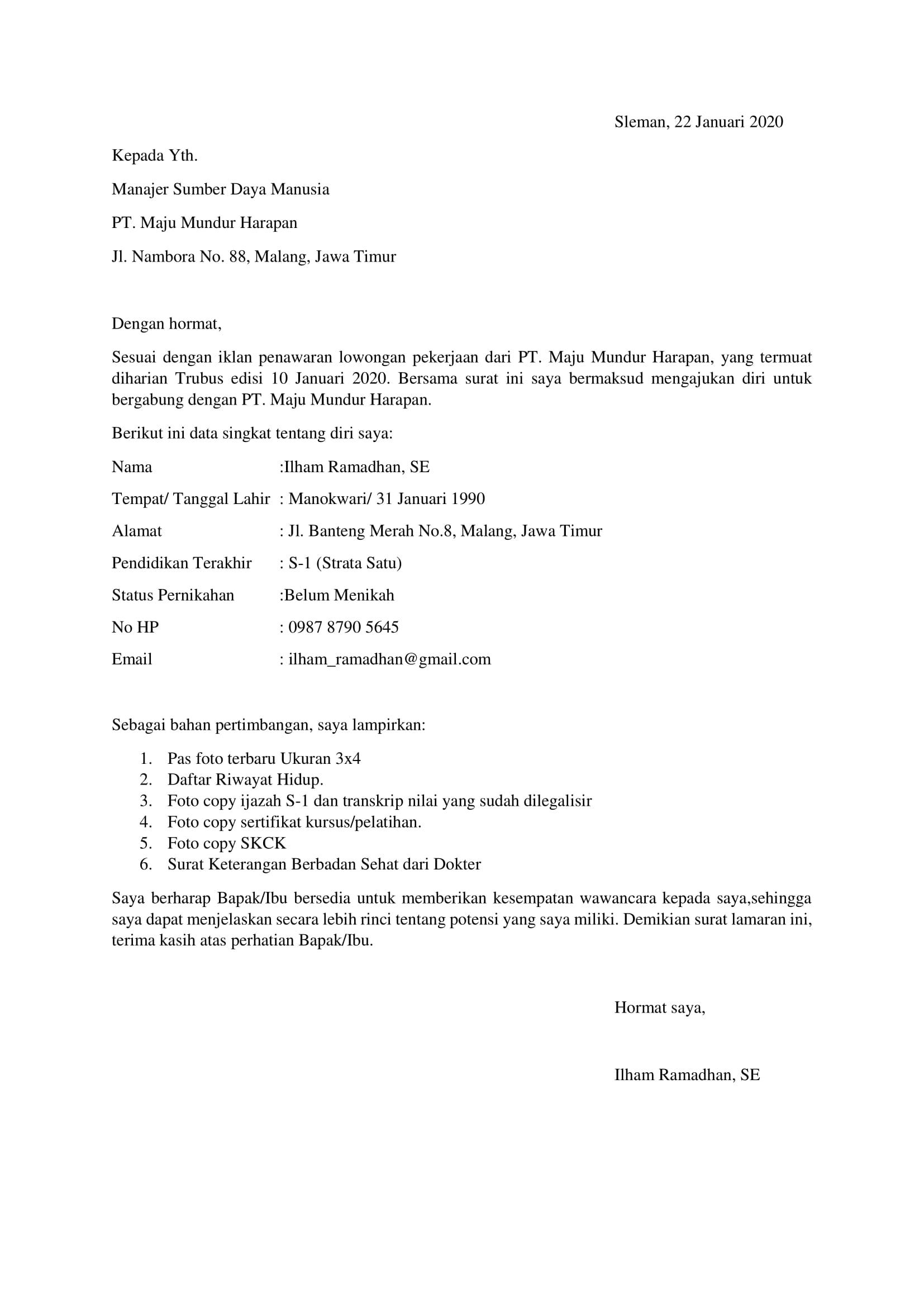 Contoh Surat Lamaran Kerja Berdasarkan Iklan-1
