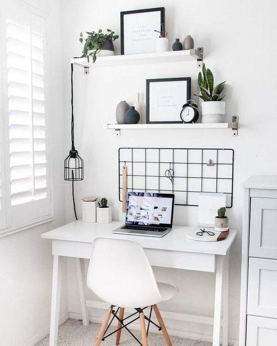 meja kerja dan desain minimalis