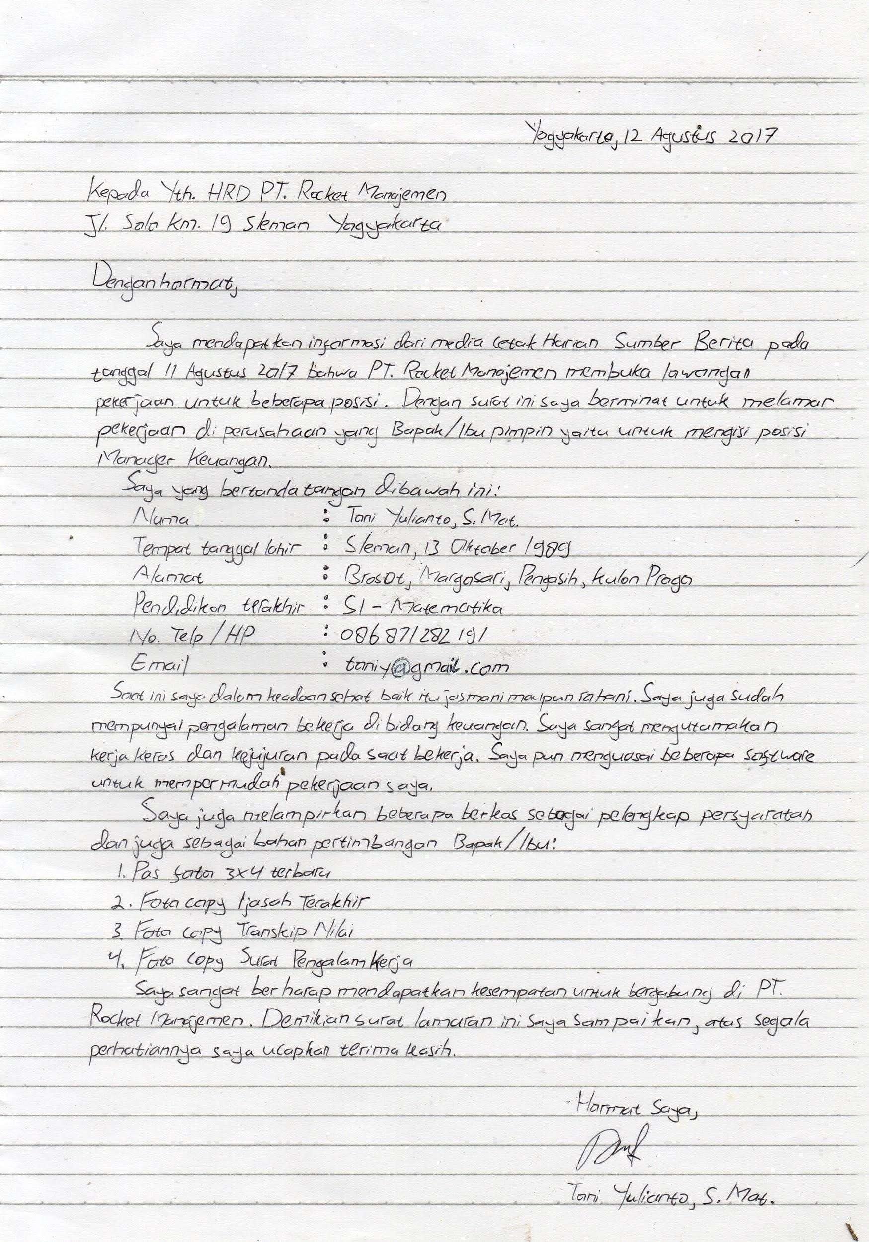 Contoh Surat Lamaran Kerja Tulis Tangan Asli 2