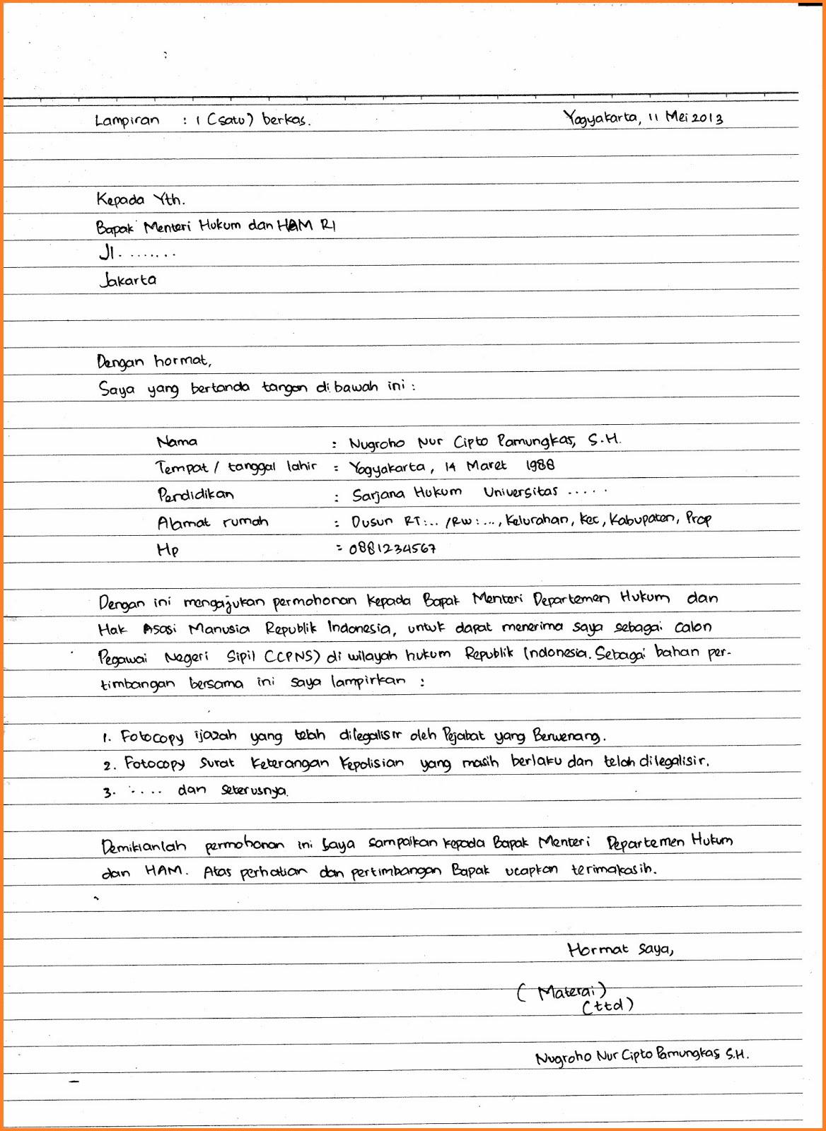 Contoh Surat Lamaran Kerja Tulis Tangan Asli 4