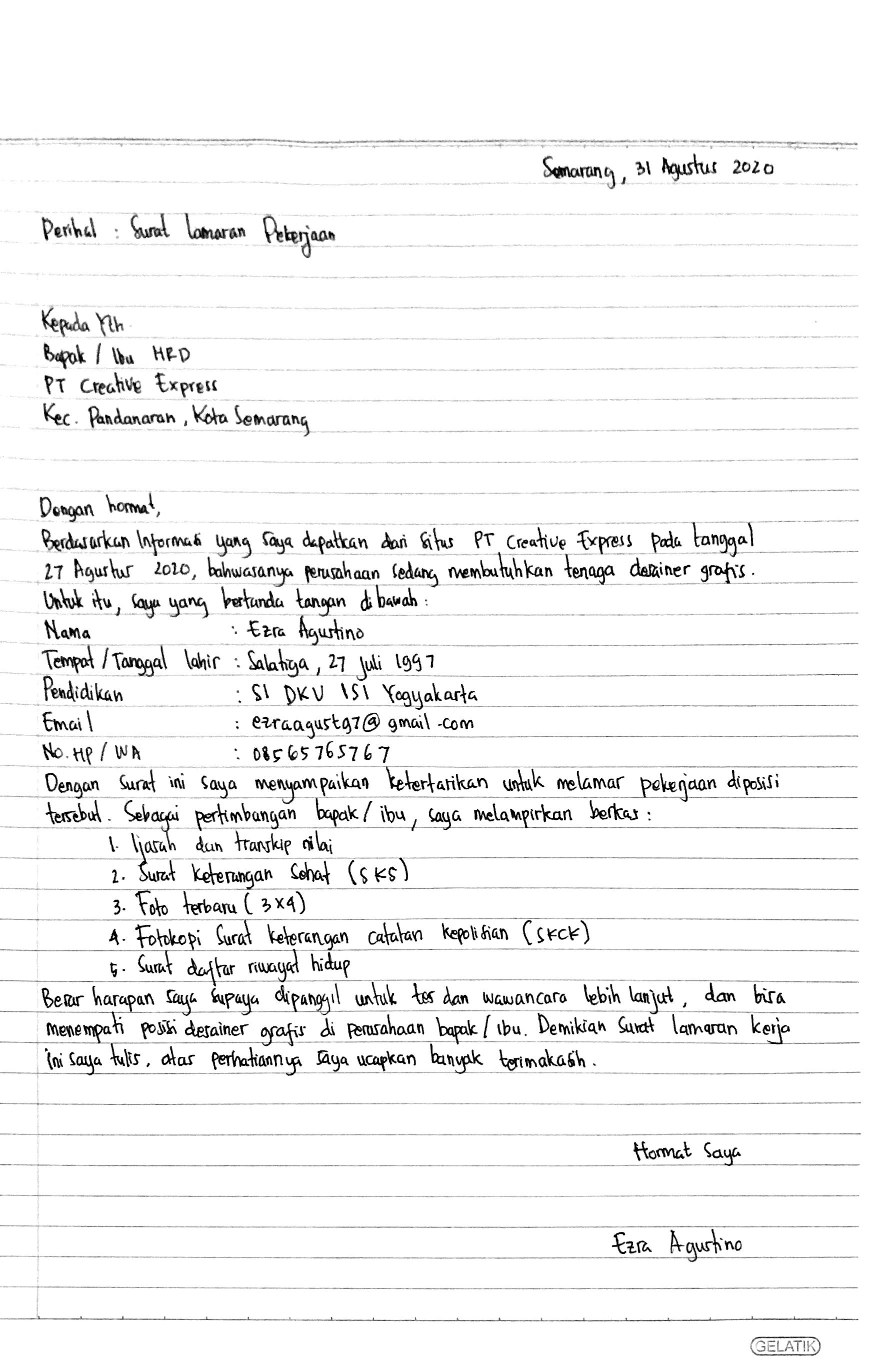 4 Contoh Surat Lamaran Kerja Tulis Tangan Alasan Hrd Minta Doc Ini